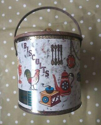 Vintage Baret Ware Art Grace Barrel Biscuit Tin Metal Kitchenalia 1950s 1960s