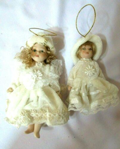 2VTG Porcelain Dolls Cream Velvet Lace Trim+Hats Christmas Ornaments-Collectible