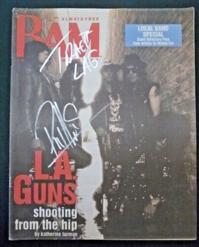 Phil Lewis & Tracii L.A. Guns Signed Autographed Magazine BAS  PSA Guaranteed #3