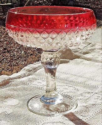 VINTAGE MID-20th CENTURY INDIANA GLASS CRANBERRY GLASS DIAMOND POINT CANDY DISH