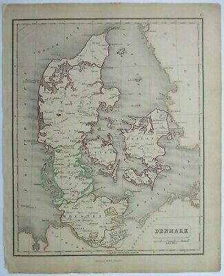 Antique Map of Denmark by William & Robert Chambers 1845