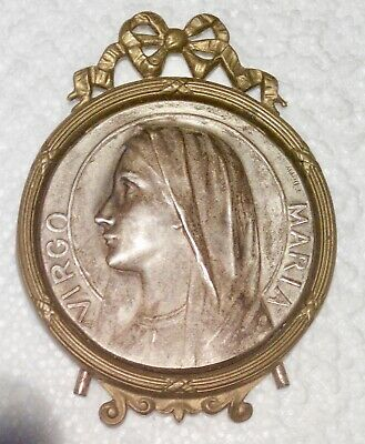 Antique Medal Religious Virgin Metal Silver and Brass Signed E.Douglas