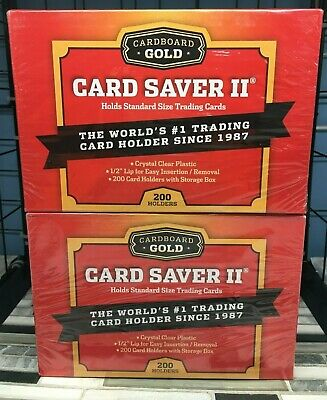 LOT OF 2 Cardboard Gold PSA Card Saver II BOX 400 TOTAL SLEEVES SMALLER/ POKEMON