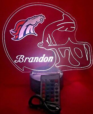 Denver Broncos NFL Football Light Up Lamp LED With Remote Free Personalized Lamp (Personalized Footballs)