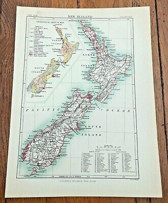 circa 1880s map of  new zealand !  ( adam & charles black )