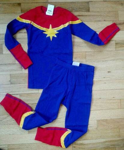 NWT Hanna Andersson CAPTAIN MARVEL PAJAMAS RED YELLOW BLUE GOLD 140 10 NEW!