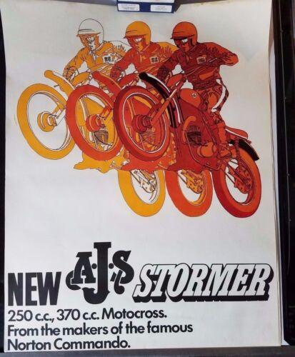 NOS 1970  AJS STORMER 250 370 MOTORCYCLE DEALER POSTER MOTOCROSS NORTON COMMANDO