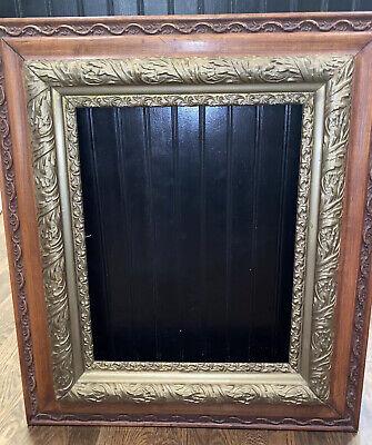 A Carved Wood Frame with Green Velvet 5x7 Picture Artwork Frame Home Decor Vintage 1970s 70s