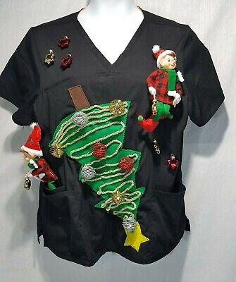Elf on the Shelf Lights Up Ugly Christmas Black Short Slve Scrub Shirt XL
