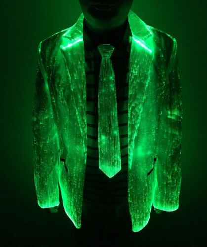 LED Jacket  Fiber Optic clothing Light up Blazers clubwear costumes-M