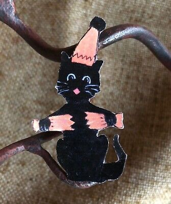 Repro Vintage 1920s Cat in Party Hat,Popper Halloween Mini Scrap Decoration, 2