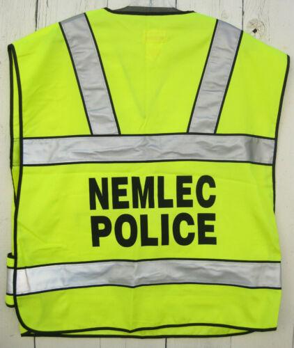MASSACHUSETS MA NEMLEC POLICE HIGH VISIBILITY VEST From PATRIOTS DAY PROD Sz Reg