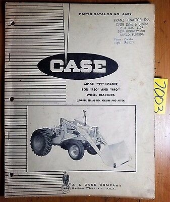 Case 22 Loader Sn 4062588- For 430 440 Tractor Parts Catalog Manual 963