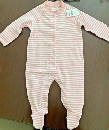 Hanna Andersson 3 / 6 month sleeper organic cotton 60cm 60 Pink  NWT with feet
