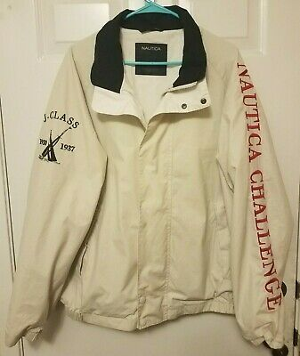 VTG Nautica Jacket J Class Challenge Spell Out Sailing Competition 90s XL
