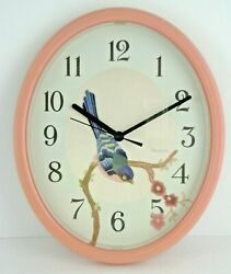 Westclox Wall Clock Oval Needlepoint Look Bird Pink Plastic Frame Quartz USA 11