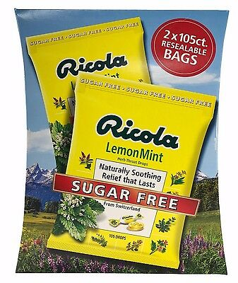 Swiss Ricola Lemon Mint Herb Throat Drops Sugar Free From Switzerland 210 Drops