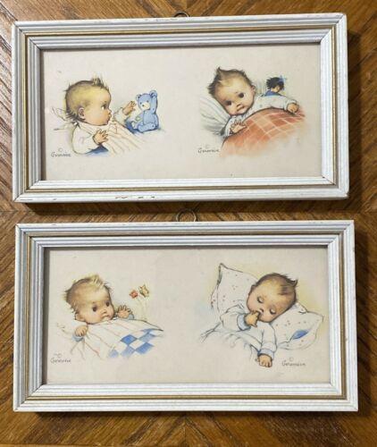 Vintage KUNST ADELT Lithograph GENEVIEVE Nursery Baby Prints Framed Lot of 2