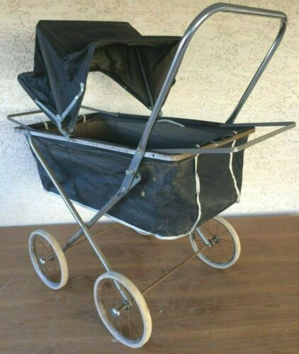 Antique Baby Carriage Buggy Metal Stroller Photography Prop