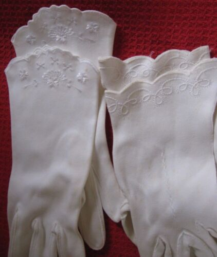 Vintage Collectible Ladies White Dress Gloves, 2 Pair. Embroidered Wrists