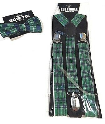 New Green Plaid SUSPENDERS And BOW TIE Spiff Up Your Wardrobe With Matching Set