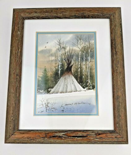 Michael McCullough (1951) Original Watercolor Painting Teepee in Early Winter