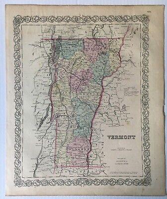 Vintage Original c.1855 J.H. Colton & Co. Hand-colored Map of Vermont
