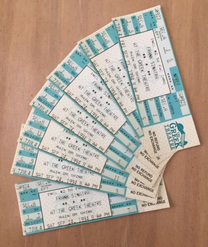 SEPT 24, 1994 FRANK SINATRA FULL UNUSED LOS ANGELES CONCERT TICKETS - LOT OF 7