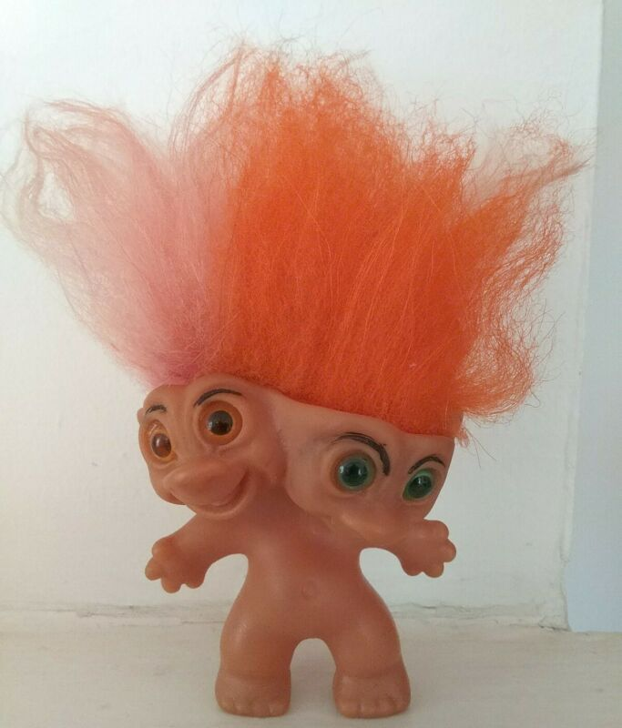 Rare Uneeda Two Headed Troll Doll, Pink & Orange Hair, Very Good Condition, 1965