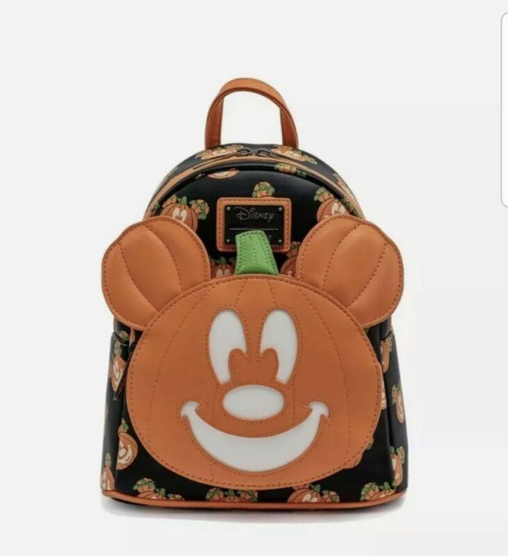 Loungefly Disney Halloween Pumpkin Mickey O Lantern Backpack Glows In Dark NWT