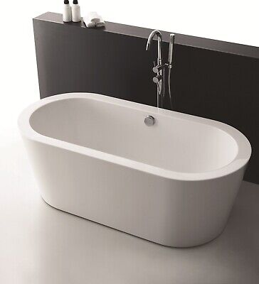 "Empava 59"" Freestanding Bathtub Acrylic Soaking SPA Tub Stand Alone Bathtubs"