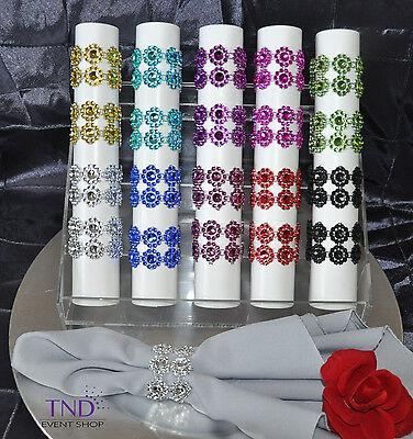 20/50/100-PACK FLOWER RHINESTONE DIAMOND CRYSTAL MESH NAPKIN RINGS - Napkin Ring Holders