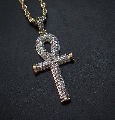 10k Yellow Gold Mens Round Diamond Ankh Cross Pendant Charm And Rope Chain Round Mens Charm