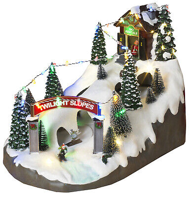 LED Lighted Christmas Snow Village Musical Holiday Ski Resort Moving Figurine