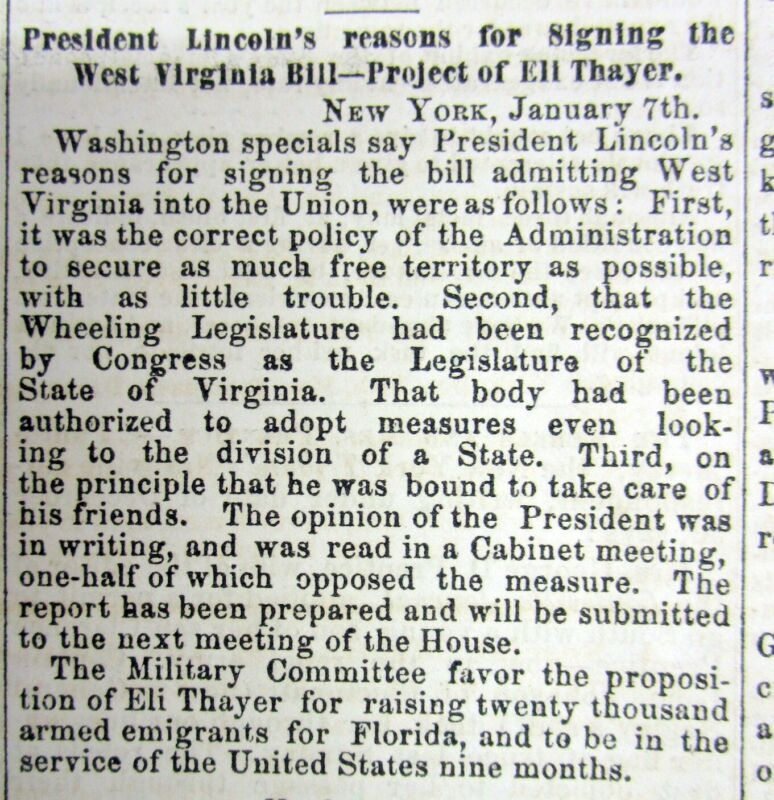 1863 Civil War newspaper WEST VIRGINIA STATEHOOD ACT signed by PRESIDENT LINCOLN
