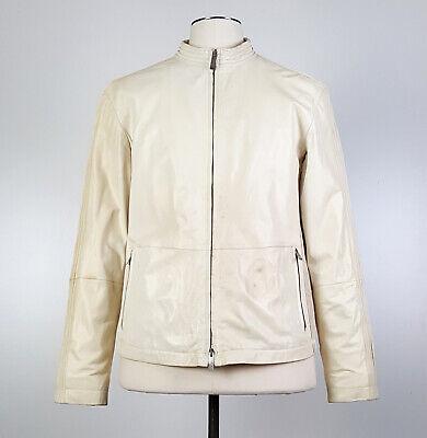 Armani Collezioni Sz 40 / M Lambskin Leather Moto Jacket Ivory Cafe Racer
