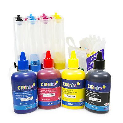 Used, Empty CISS w Pigment Ink Bottle Set for Epson Stylus C68 C88 C88+ CX3800 CX3810 for sale  Los Angeles