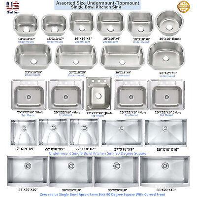 Stainless Steel Single Bowl Topmount / Undermount Kitchen Sink Multiple (Single Bowl Undermount Stainless Steel Sink)