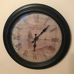 Vintage EDINBURGH CLOCK WORKS CO. Wall Clock Sailboat Photo/Letter Roman Numeral