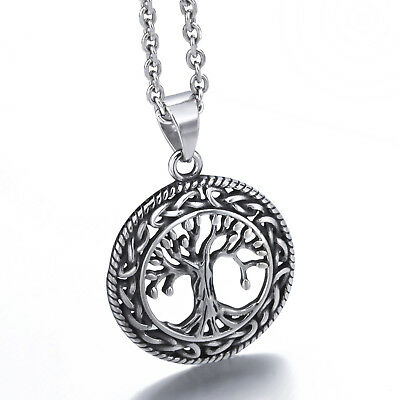 Life Celtic Knot - Men Women Tree of Life Stainless Steel Celtic Knot Hollow Pendant Chain Set