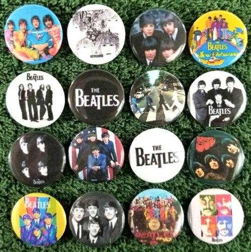 "Lot of Beatles Classic Rock Buttons Pins 1"" Pinbacks, John Lennon Paul McCartney"