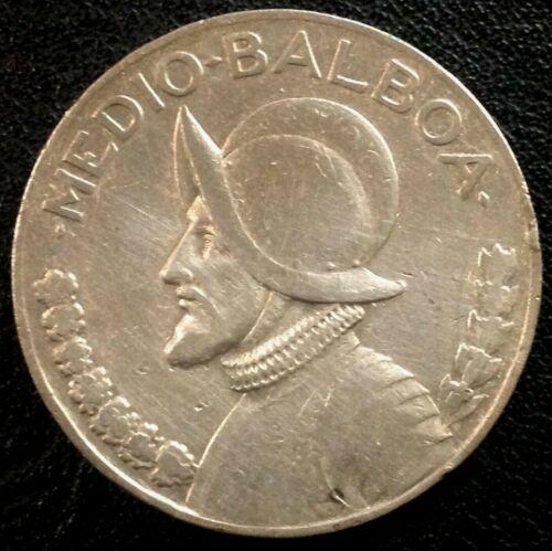 1933 PANAMA SILVER 1/2 MEDIO HALF BALBOA COIN  .900 SILVER