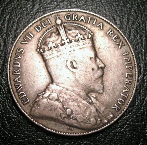 1909 NEWFOUNDLAND SILVER 50 CENTS highgrade