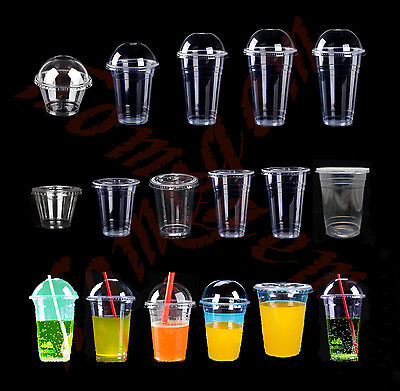 Plastic Coffee Cups With Lids (30 Plastic Clear Cups with Dome/Flat Lids 4 Iced Coffee Drink Tea  Various)