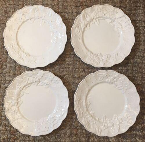 LOVELY S/4 BORDALLO PINHEIRO CREAM INGRID DINNER PLATES,PORTUGAL