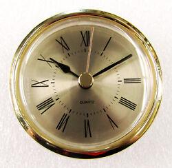 BRAND NEW 2 1/4   CLOCK MOVEMENT INSERT  (POP-IN ) GOLD TONE DIAL 15687-262RG