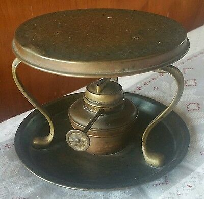 RARE HAND HAMMERED COPPER & BRASS OIL LAMP BEVERAGE WARMER HOTPLATE PAT. # 8586! Hammered Copper Oil Lamp