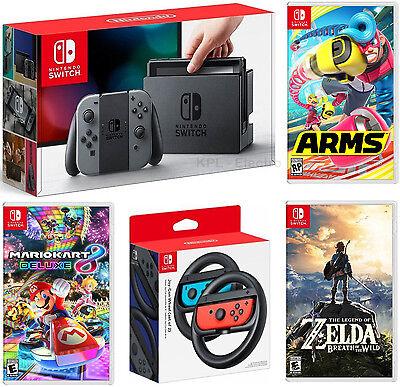 Nintendo Switch Gray System   Zelda Botw   Mario Kart 8   Arms   Wheels Bundle