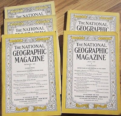 Vintage National Geographic Magazine Lot - 5 magazines