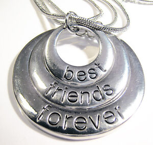 Silver Plated Best Friends Forever Circle Pendant 3 x Necklaces BFF